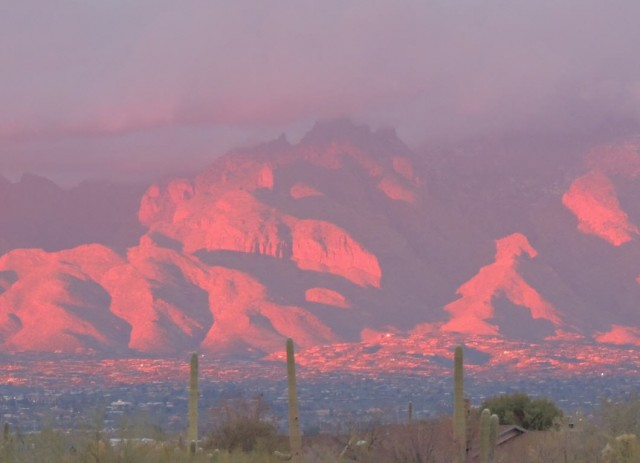 Santa Catalina Mountains in Alpenglow - Tucson, Arizona