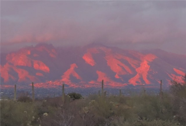 Alpenglow at Evening Twilight Over the Santa Catalina Mountains - Tucson, AZ