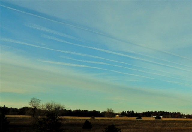 Contrails Over Portage County Farmland - Stevens Point, WI