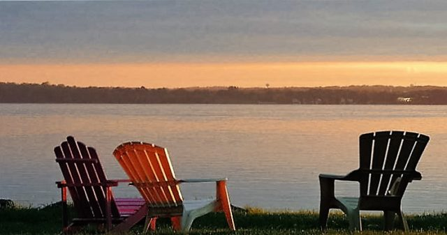 Chairs at Sunset, lake-monona